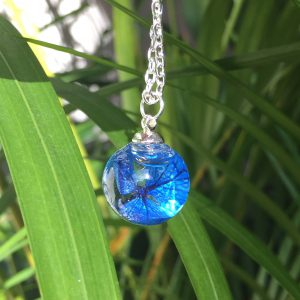 Blue Hydrangea Mini Orb Necklace