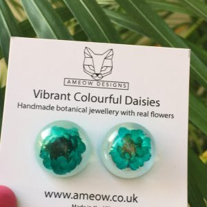 Turquoise Green Daisy Flower Semi Orb Resin Earrings