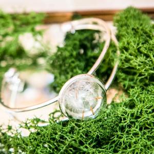 Delicate Dandelion Seed Wish Botanical Silver Bangle